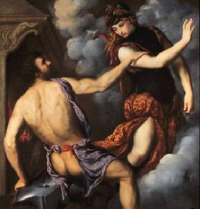 Aphrodite running from Hephaestus