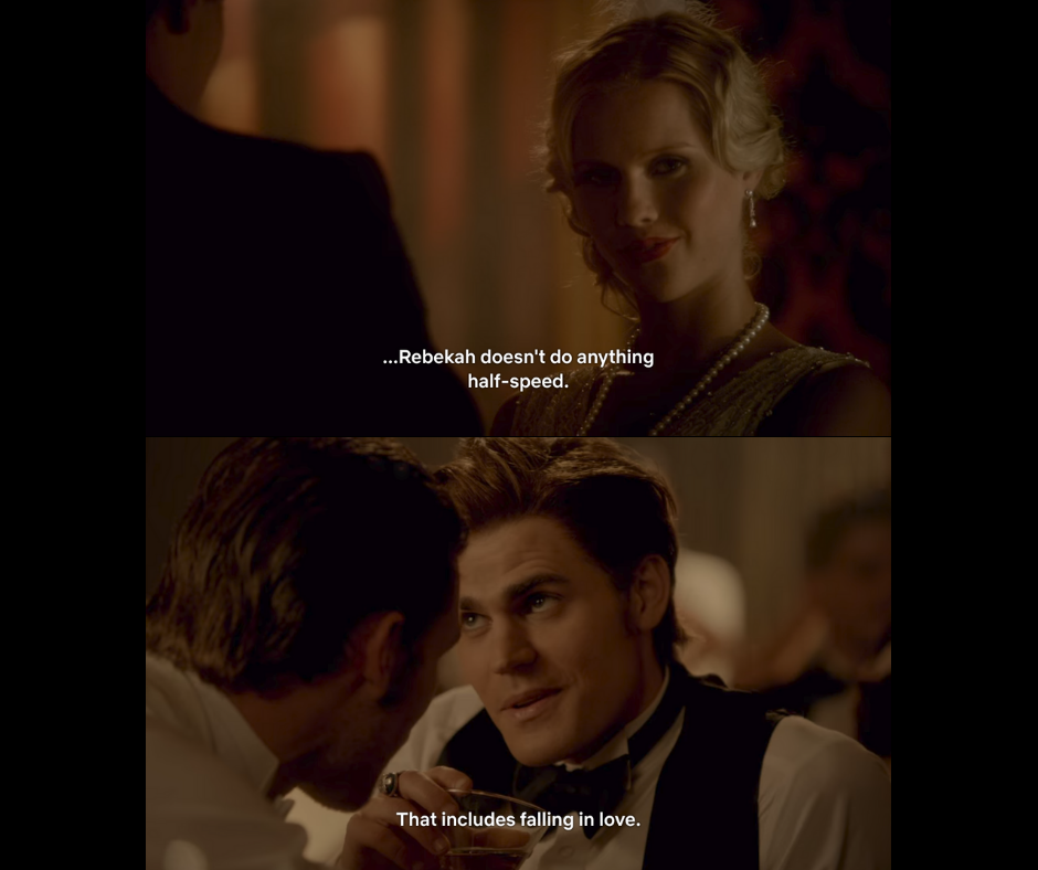 Rebekah doesn't do anything half speed and that includes falling in love.
